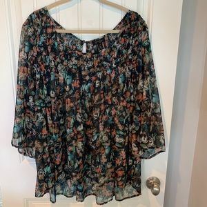Jessica Simpson Berlin butterfly peasant blouse 3X